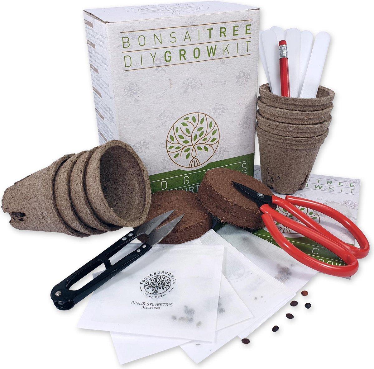 Bonsai Boom Starters Kit - Kweek je eigen Bonsai Boompjes - incl. E-book - 4 soorten Boomzaden - Cad