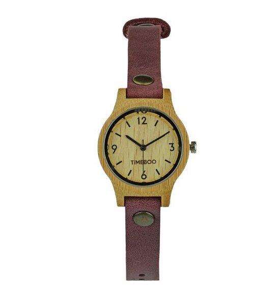 Dames horloge bamboe hout I URBAN SMALL Single Aubergine leren band I TiMEBOO ®