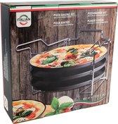Pizzaplaat bakset met 3 bakplaten 29 cm - Pizza rek 3-delig - Pizzabakset met standaard - 3 pizzaplaten - Pizza's bakken