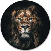 Wandcirkel Leeuw | Kunststof 120 cm | Ronde schilderijen | Muurcirkel Lion op Forex | Kwaliteit wanddecoratie