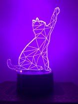 Nachtlampje voor kind of volwassen. Nachtlamp KAT.  Slaaptrainer, mood lamp 7-kleurig. Stijl 3