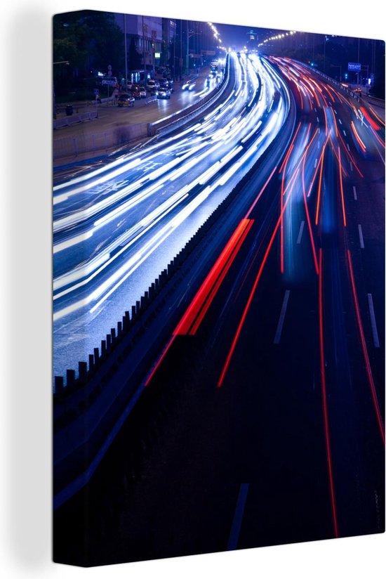 De snelheid van het licht van auto's in de nacht canvas 120x160 cm - Foto print op Canvas schilderij (Wanddecoratie woonkamer / slaapkamer) XXL / Groot formaat!