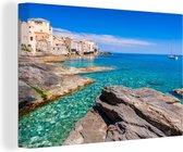 Blauwe lucht in Corsica Canvas 60x40 cm - Foto print op Canvas schilderij (Wanddecoratie woonkamer / slaapkamer)