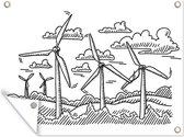 Een illustratie van vijf handgetekende windmolens onder een wolkenlucht tuinposter 80x60 cm - Tuindoek / Buitencanvas / Schilderijen voor buiten (tuin decoratie)