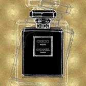 80 x 80 cm - Glasschilderij - Chanel fles - schilderij fotokunst - verwerkt met goudfolie