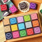 JDBOS ® Stempelkussen set met 20 verschillende kleuren - inkt voor stempelkussen - Groen - Blauw - Roze - Geel - Rood - Geel