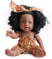 JDBOS ® Bruine pop met zwarte krullen - Afrikaanse pop 30 cm - donkere huidskleur - zwarte pop