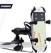 Universele X-Grip Telefoonhouder met USB poort - Smartphone Mobiel Houder – Waterbestendig – Schokbestendig – Motor / Scooter / Boot