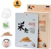 MITOMO Rice Leaven Gezichtsmasker - 6-Pack - Anti Rimpel en Huidverzorging -...