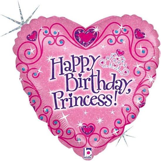 Folie cadeau sturen helium gevulde ballon Gefeliciteerd Prinses/Happy Birthday Princess 46 cm - Roze hartjes ballon - Folieballon verjaardag versturen/verzenden