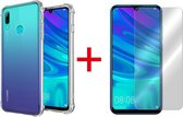 Huawei P Smart 2019 Hoesje Transparant - Anti Shock Hybrid Backcover + Glazen Screen Protector