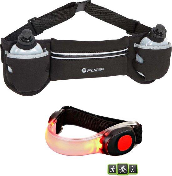 XQ Max - running belt - hardloopriem - met 2 flesjes - inclusief - siliconen - hardloop LED verlichting - LED armband - hardloop verlichting