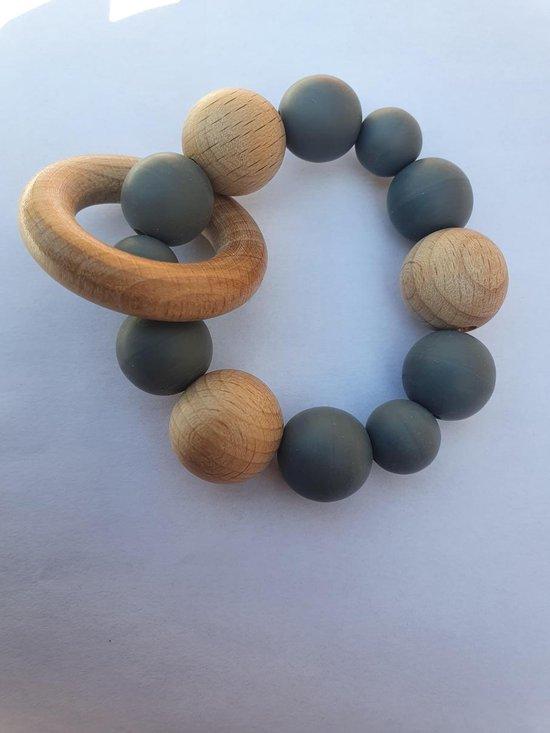 Baby Bijtring siliconen / houten kralen armband - Geboorte - Kraamcadeau -Blauw-
