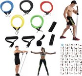 Weerstandsbanden Set - 11-delige Set - Resistance Bands - Fitness Elastiek Set - Thuis Fitness Materiaal - Home Training - Sporten - Krachttraining - Muscle Bands Elastiek - Workout Set - Fitnessband - Trainingsband - Gewichten - Full Body Workout