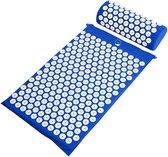 Acupressure Mat en Kussen - Spijkermat + kussen set - Acupunctuur Set - Massage & Ontspanning - 65x40 cm - Blauw