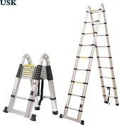 USK Telescoop Ladder - 18 treden - 2 x 9 treden -  werkhoogte 5.6 meter - Met Stabilisatievoet - Telescopische - Soft closing