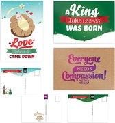 Christelijke kerstkaarten set 3 stuks baby Jezus bijbeltekst Johannes 3:16, kerst en sterkte