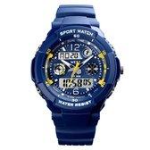 West Watch – multifunctioneel kinder sport horloge - model Storm – Chronograaf – Shockproof - Digitaal/Analoog - Blauw/geel