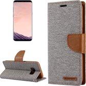 GOOSPERY CANVAS DAGBOEK voor Samsung Galaxy S8 + / G9550 canvas textuur horizontale flip lederen tas met kaartsleuven & portemonnee en houder (grijs)
