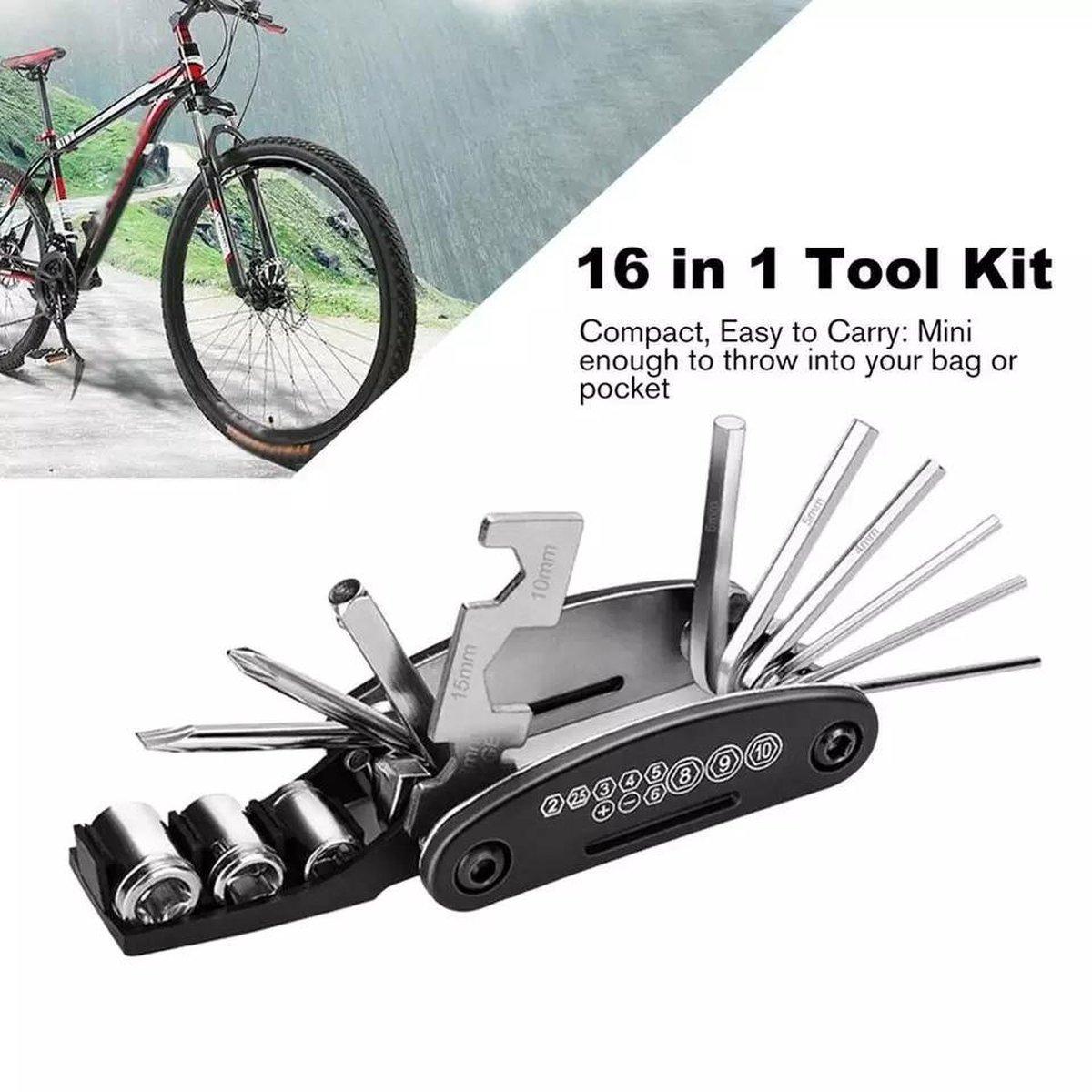 LOUZIR Multitool Fiets reparatie toolkit 16-delig - race fiets mountainbike-  Vouwgereedschap fiets-