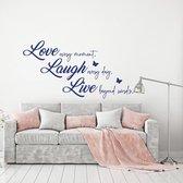 Muursticker Love Laugh Live -  Donkerblauw -  80 x 42 cm  - Muursticker4Sale