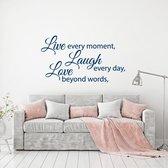 Muursticker Live Laugh Love -  Donkerblauw -  80 x 45 cm  - Muursticker4Sale