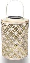 GIZMO Solar Lantaarn Rustiek - Wit – Metaal - LED Buitenverlichting - Tuinverlichting op Zonne-Energie Buiten – Dag/Nacht Sensor - 21 x 15.5 cm