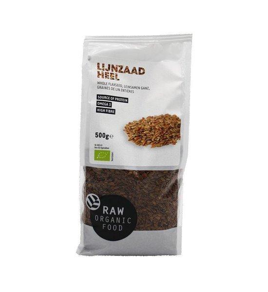 RAW Organic Food Biologische Lijnzaad (Doos met 8 verpakkingen van 500 gram)