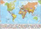 Grote Wereldkaart - Landkaart - Schoolkaart - Schoolplaat - Kaart - Atlas - 150 x 100 CM - Wanddecoratie - Extra Groot - Kwaliteit - Design - Poster - Om aan de muur te hangen - Wereld Kaart - Land Kaart - Continenten - XXL