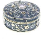 Sierlijk en brocant doosje - rond model in blauw met goudkleur en strass kristallen