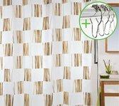 Spirella Seagrass Douchegordijn Textiel - 180x200 cm - Camel | DOUCHEGORDIJN + RINGEN