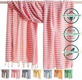 ANATURES Hamamdoek XL HOLIDAY 95x190 cm   Hamam strandlaken, Badlaken, Sauna handdoek, Fouta pareo, Yoga handdoek   Fair Trade – Biologische katoen   Roze
