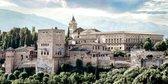 De Alhambra, paleis in Granada, Spanje, Andalusië in olieverf look | gebouw, modern, stad, sfeer | Foto schilderij print op Canvas (canvas wanddecoratie) | 100x50cm