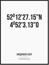 Poster/kaart MIJDRECHT met coördinaten