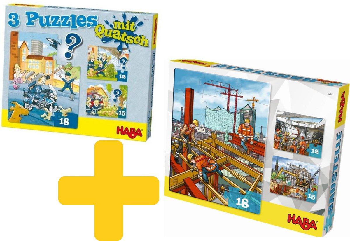 Haba voordeelpakket puzzels voor jongens, brandweer, politie en bouw