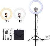 A SUNNY DAY LED Ringlamp met statief - 45,7 cm / 18 inch (verstelbaar) Incl telefoonhouder - Ringlight - Flitser - Ring lamp - Vlog - Make-up light