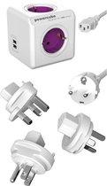 PowerCube ReWirable Duo USB reisstekker + 3x wereld reis plug + 1 meter IEC EU kabel DE - Wit/Paars - 4 stopcontacten - 2 USB laders