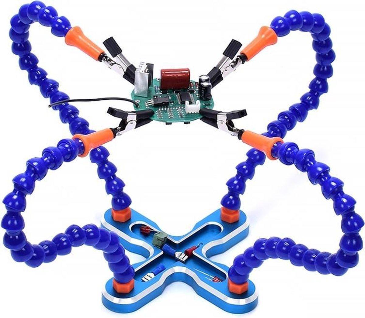 USB LED 3x bril vergrootglas lamp diy solderen derde hand flexibele armen lassen helpen stand reparatie houder gereedschap (blauw) - Merkloos