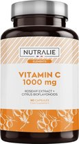 Vitamine C 1000 mg | Voor Vermoeidheid, Immuunsysteem en Antioxidant met Rozenbottel en Bioflavonoïden zonder Additieven | 180 Vegan Capsules Nutralie