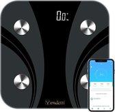 Vendetti WF38E Smartscale – Slimme weegschaal – Digitale weegschaal – Personenweegschaal/lichaamsanalyseweegschaal – Zwart – E-boek inbegrepen – Wifi verbinding