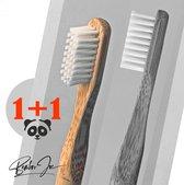 Handtandenborstels - 2 x Bamboe Tandenborstel - Afbreekbaar - Wit Medium - Ronde Grip