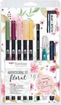 Tombow Watercoloring Set Floral in een Zipperbag  + 1 Blok Aquarel Papier 20 Vel, 300g/m²