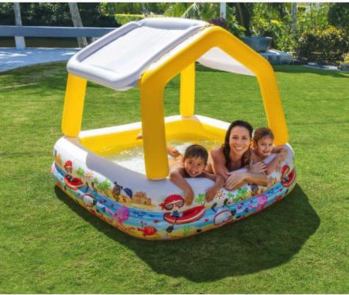 Opblaasbaar zwembad peuterbad met bescherming tegen de zon 157 x 122 x 157 cm