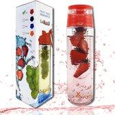 LuXorB kwaliteits Drinkfles -Easy- met fruitfilter, 700 ml. rood, lekvrij, BPA vrij, voor water-vruc