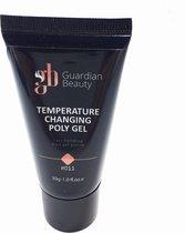 Polygel - Polyacryl Gel - Temperature Changing - Kleur Oranje - 30gr - Gel nagellak - Fantastische glans en kleurdiepte - UV en LED-uithardbaar - Kunstnagels en natuurlijke nagels