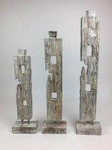 Set van drie houten objecten ornamenten in natural wash Ibiza-style