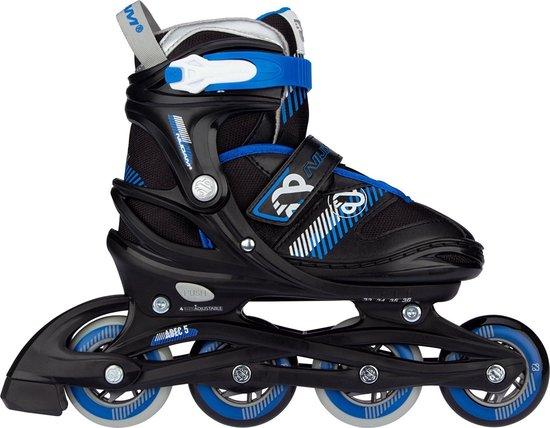 Nijdam Inline Skate Verstelbaar - Go Crossing - Zwart/Blauw/Zilvergrijs/Wit - 33-36