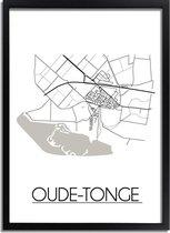 DesignClaud Oude-Tonge Plattegrond poster A4 + Fotolijst zwart