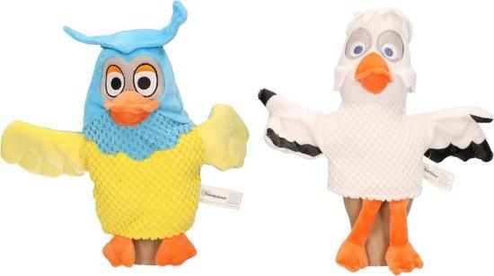2x Pluche Fabeltjeskrant handpoppen knuffels meneer de Uil en juffrouw Ooievaar 25 cm speelgoed - Fabeltjeskrant poppen - Uilen/ooievaars bosdieren vogels knuffels - Poppentheater speelgoed kinderen