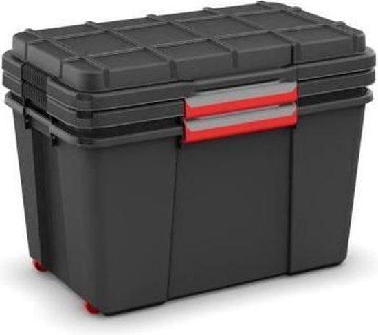 ABM Set van 2 kofferkisten Atlas - Maat XL - Zwart - Laadvermogen van 80kg op het deksel - Stapelbaar - Stapelbaar